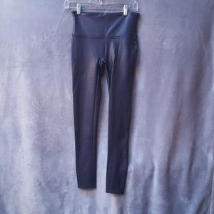Spanx navy blue faux leather leggings